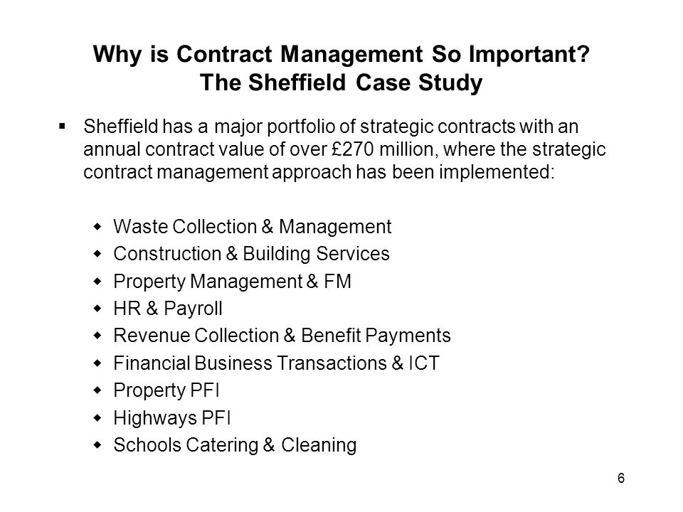 Why is Contract Management So Important The Sheffield Case Study