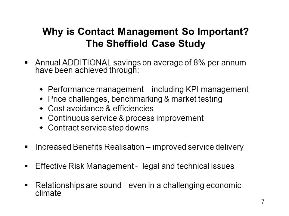Why is Contact Management So Important The Sheffield Case Study