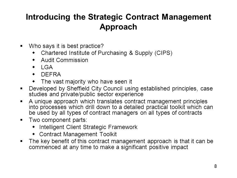 Introducing the Strategic Contract Management Approach