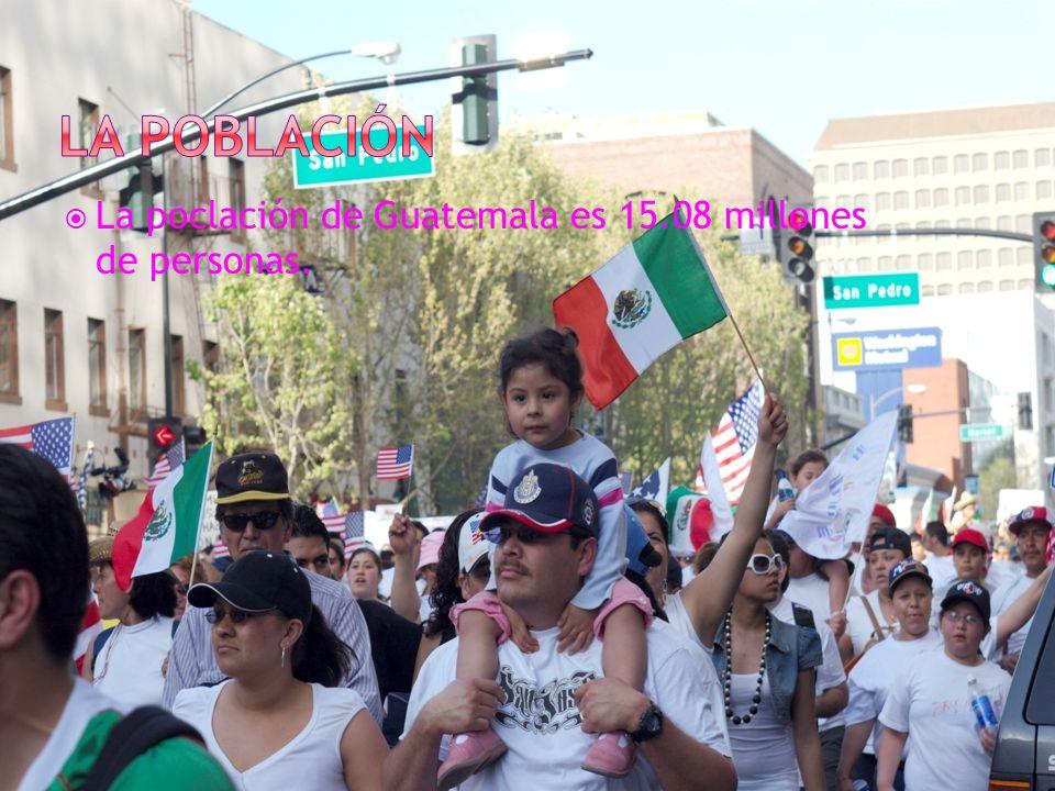 La poblaciÓn La poclación de Guatemala es 15.08 millones de personas.
