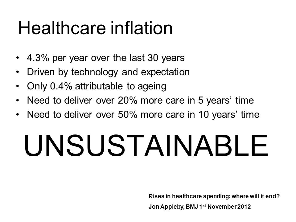UNSUSTAINABLE Healthcare inflation