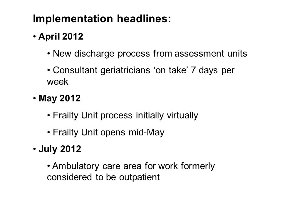 Implementation headlines: