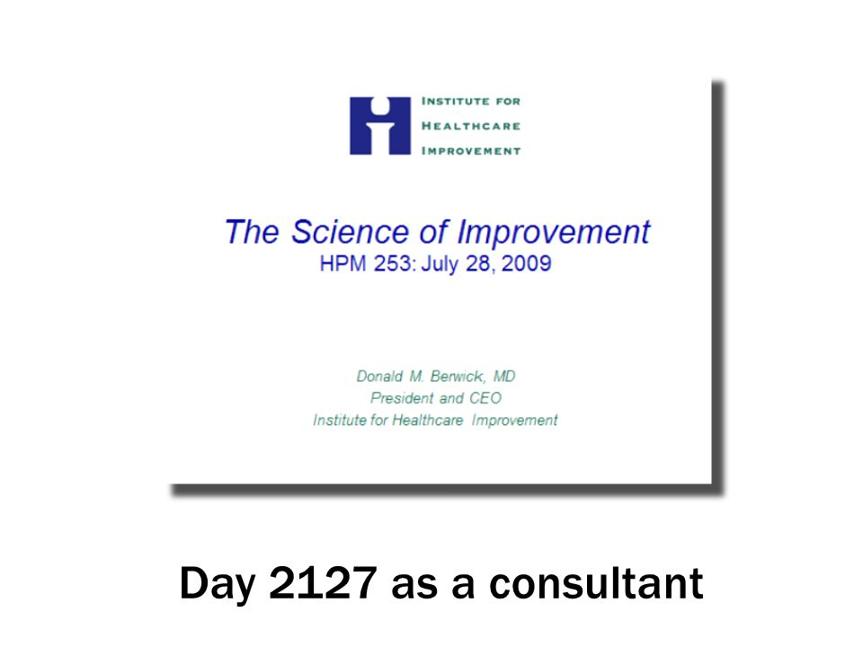 Day 2127 as a consultant