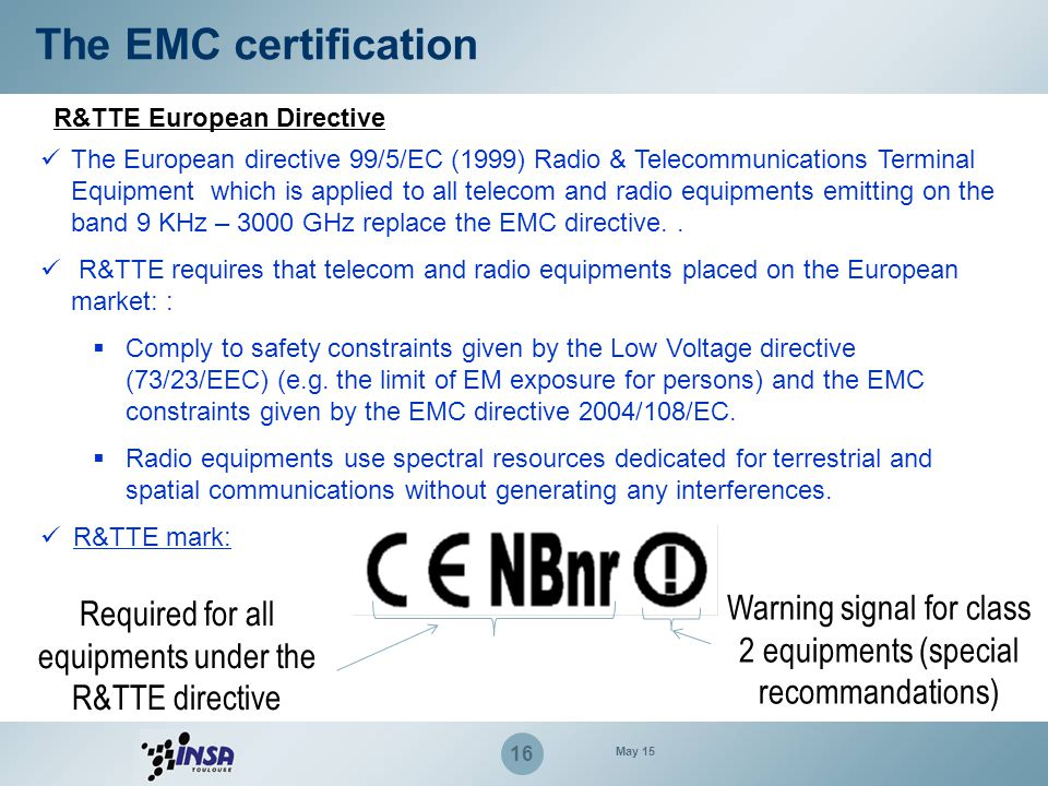 The EMC certification R&TTE European Directive.