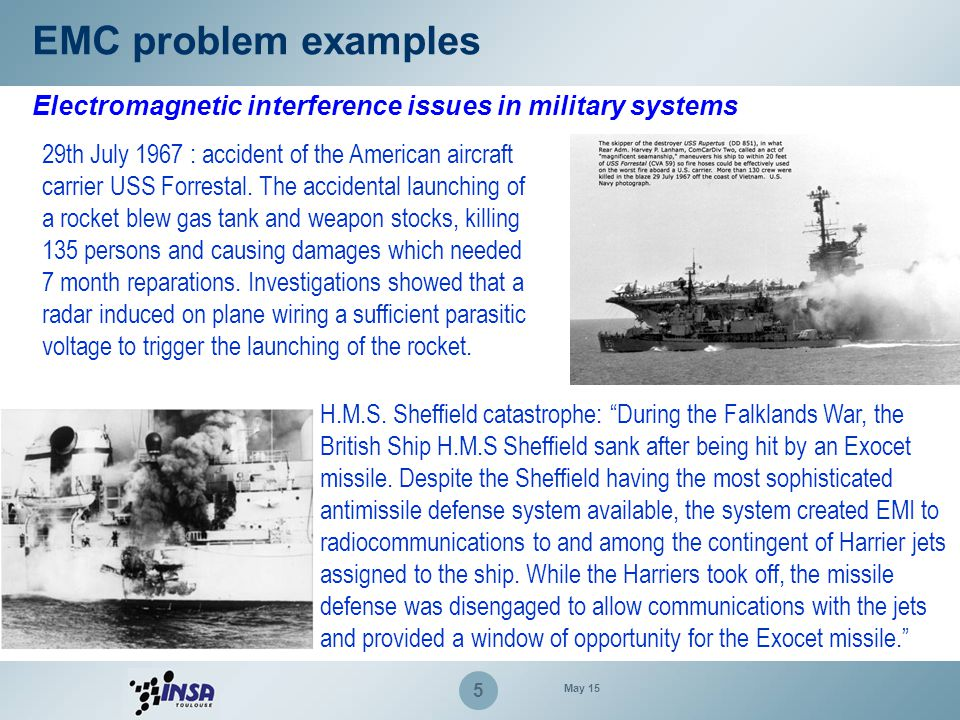 EMC problem examples Electromagnetic interference issues in military systems.