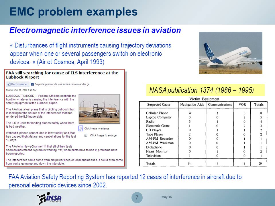 EMC problem examples Electromagnetic interference issues in aviation