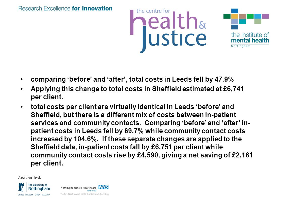 comparing 'before' and 'after', total costs in Leeds fell by 47.9%