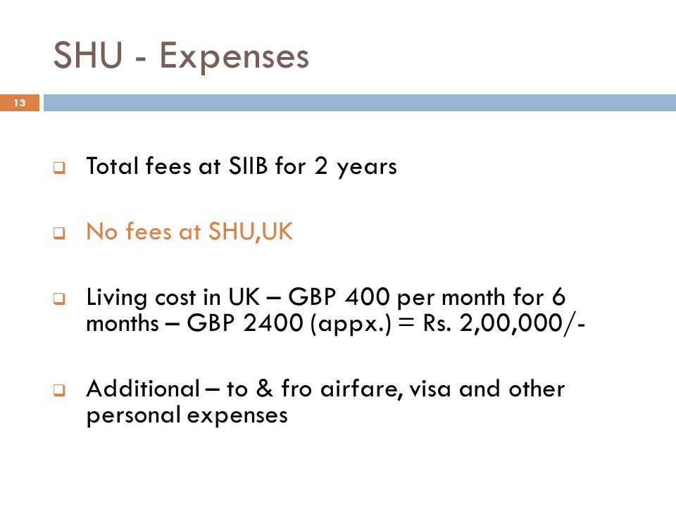 SHU - Expenses Total fees at SIIB for 2 years No fees at SHU,UK