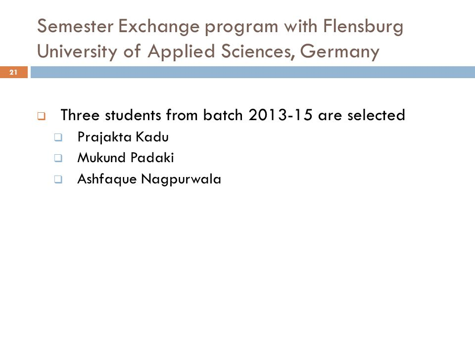 Semester Exchange program with Flensburg University of Applied Sciences, Germany