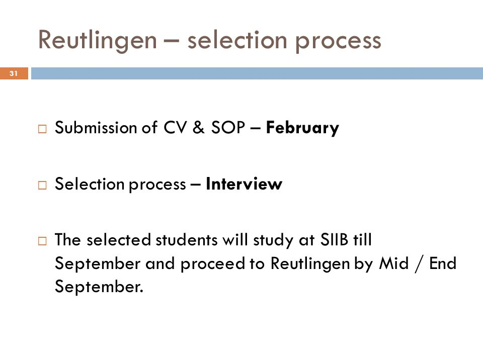 Reutlingen – selection process