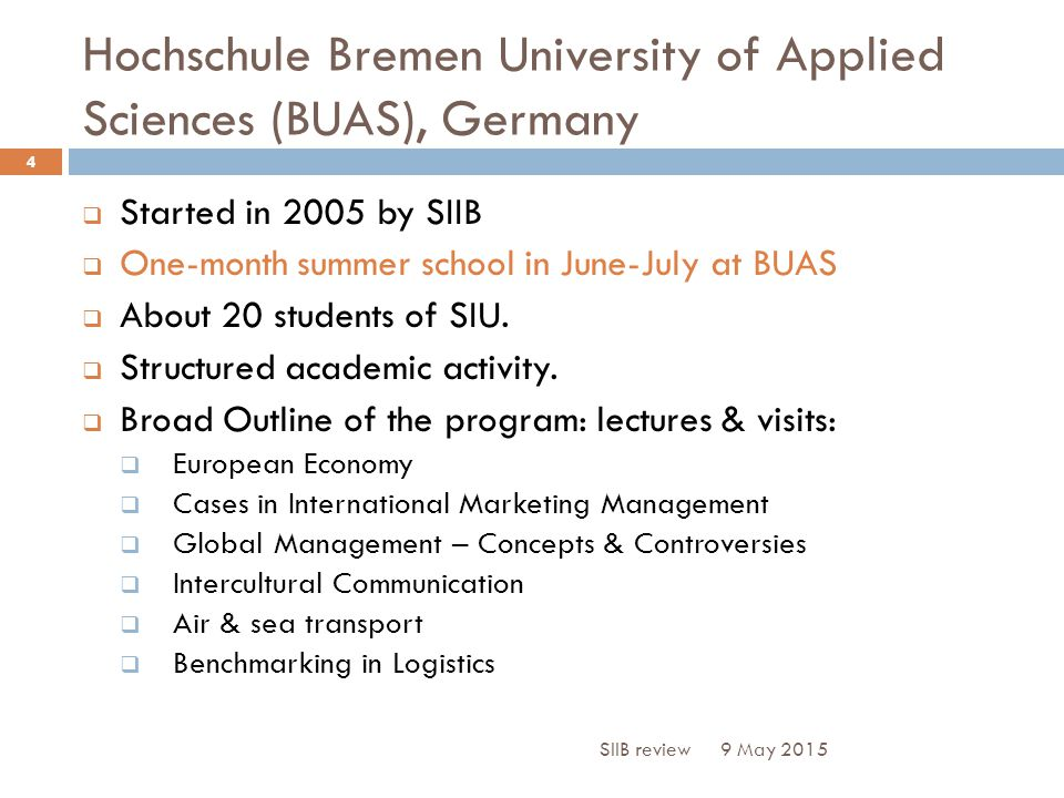 Hochschule Bremen University of Applied Sciences (BUAS), Germany