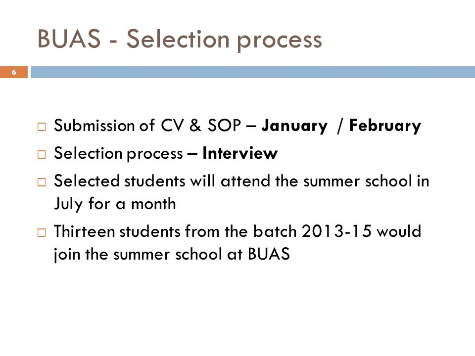 BUAS - Selection process