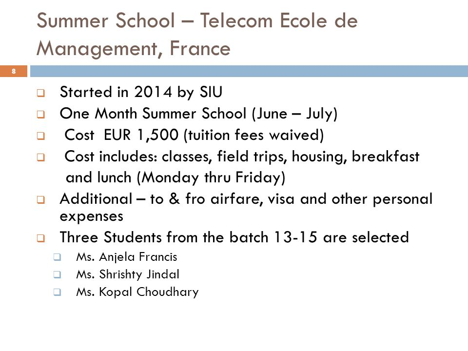 Summer School – Telecom Ecole de Management, France