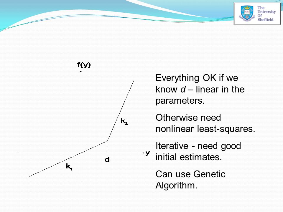 Everything OK if we know d – linear in the parameters.