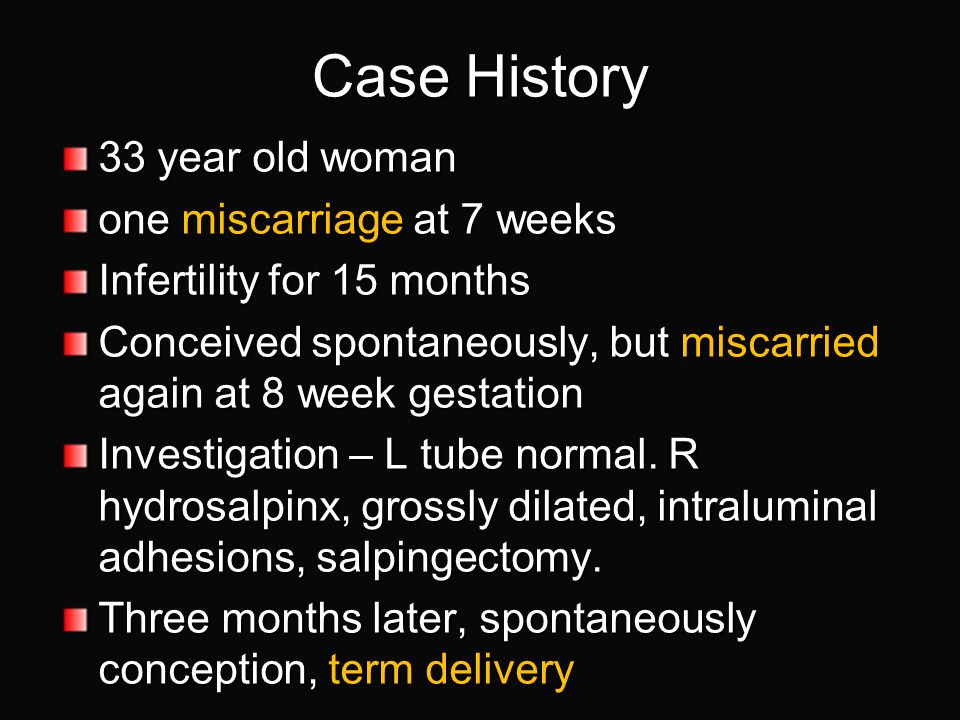 Case History 33 year old woman one miscarriage at 7 weeks