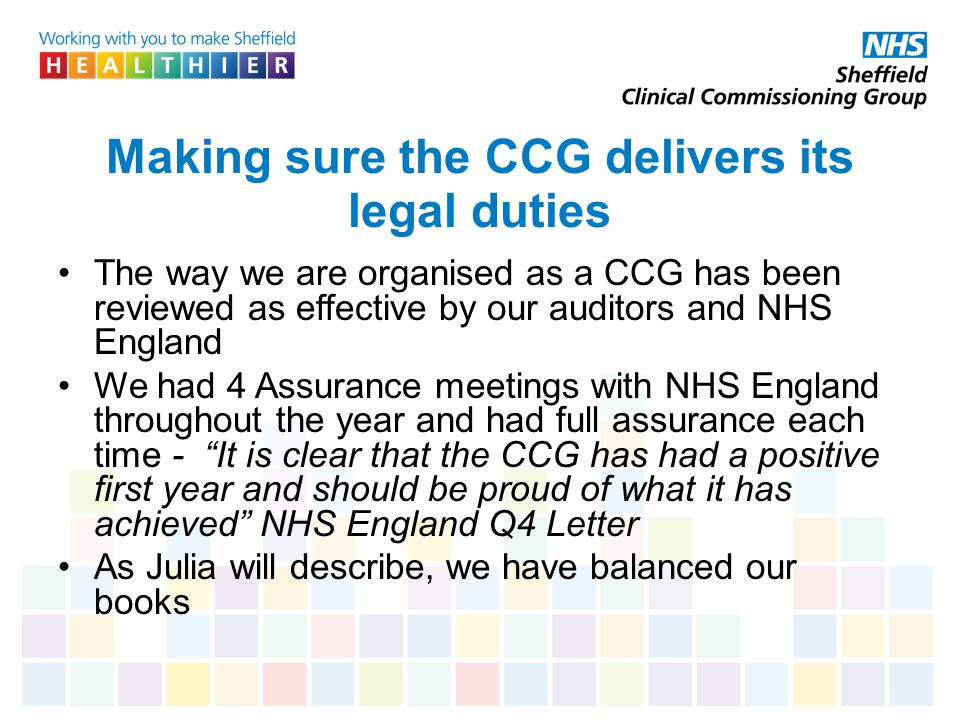Making sure the CCG delivers its legal duties