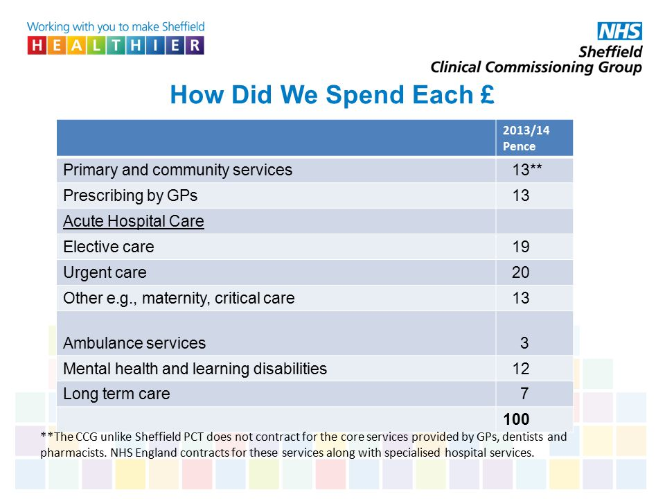 How Did We Spend Each £ Primary and community services 13**