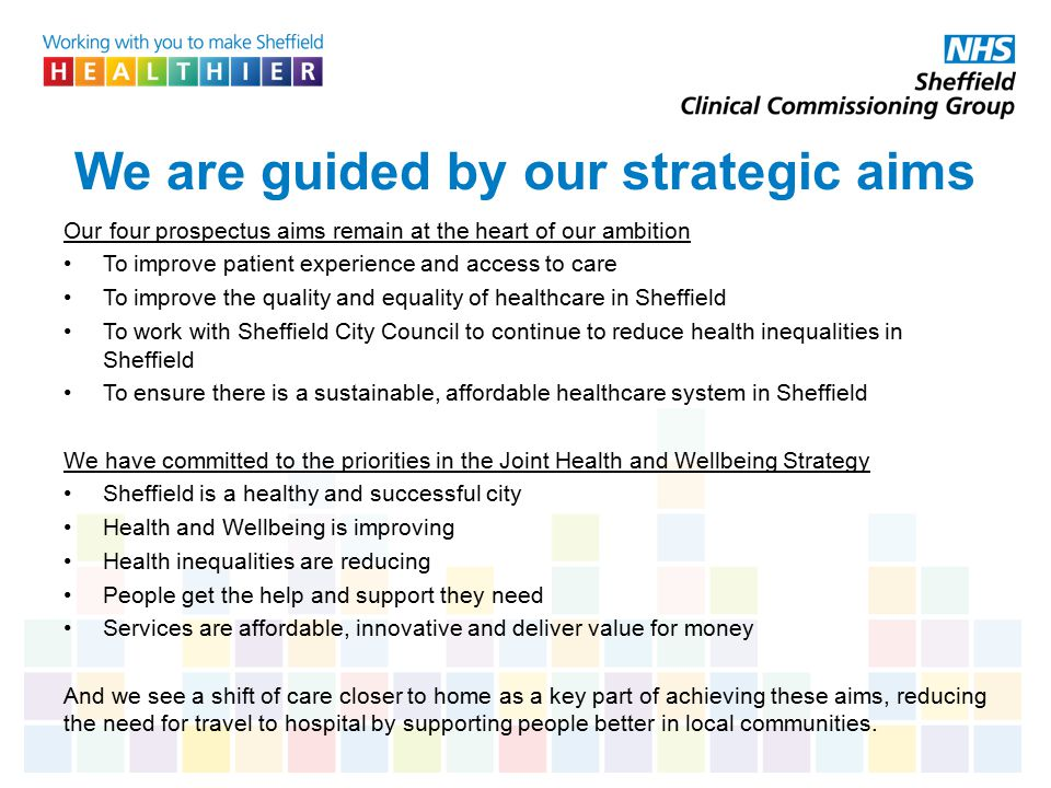 We are guided by our strategic aims