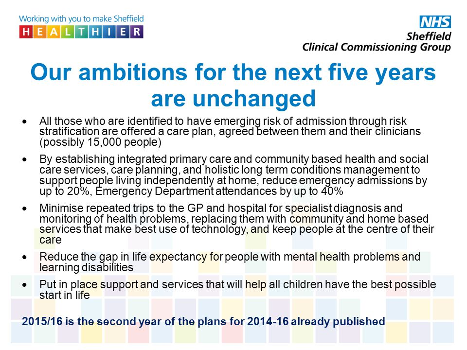 Our ambitions for the next five years are unchanged