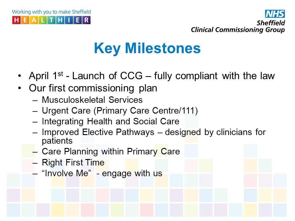 Key Milestones April 1st - Launch of CCG – fully compliant with the law. Our first commissioning plan.