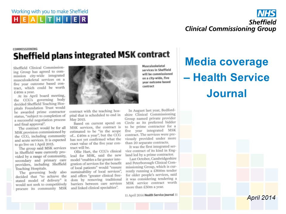Media coverage – Health Service Journal