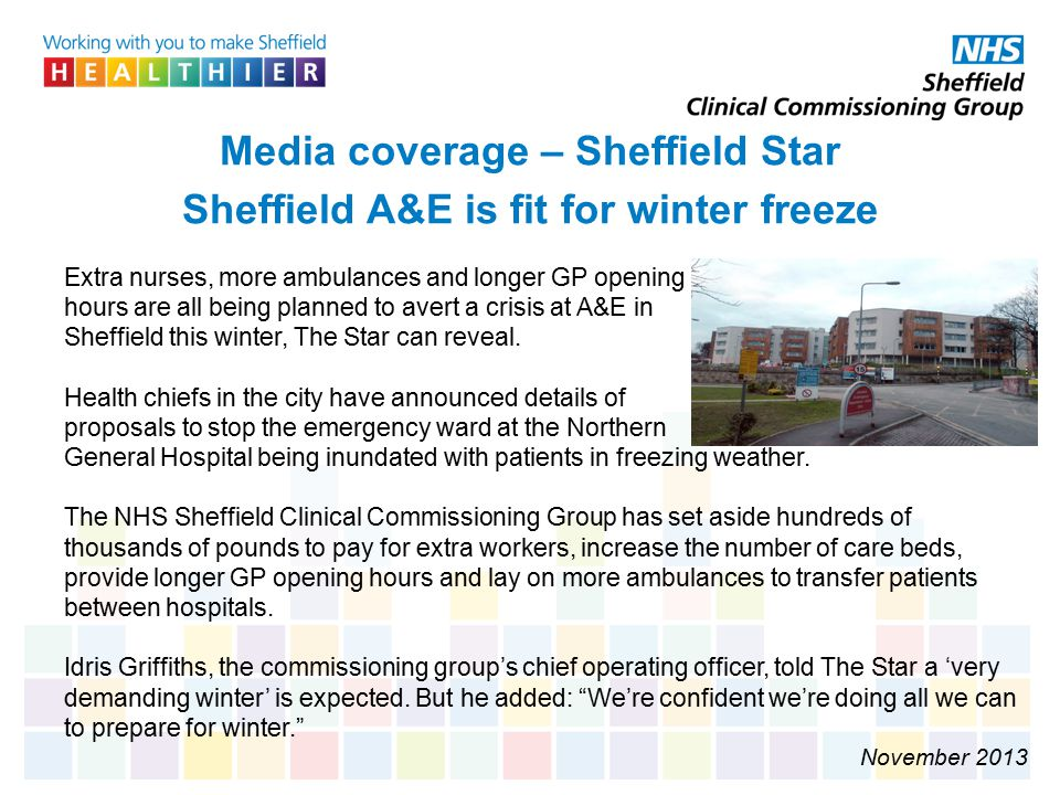 Media coverage – Sheffield Star Sheffield A&E is fit for winter freeze