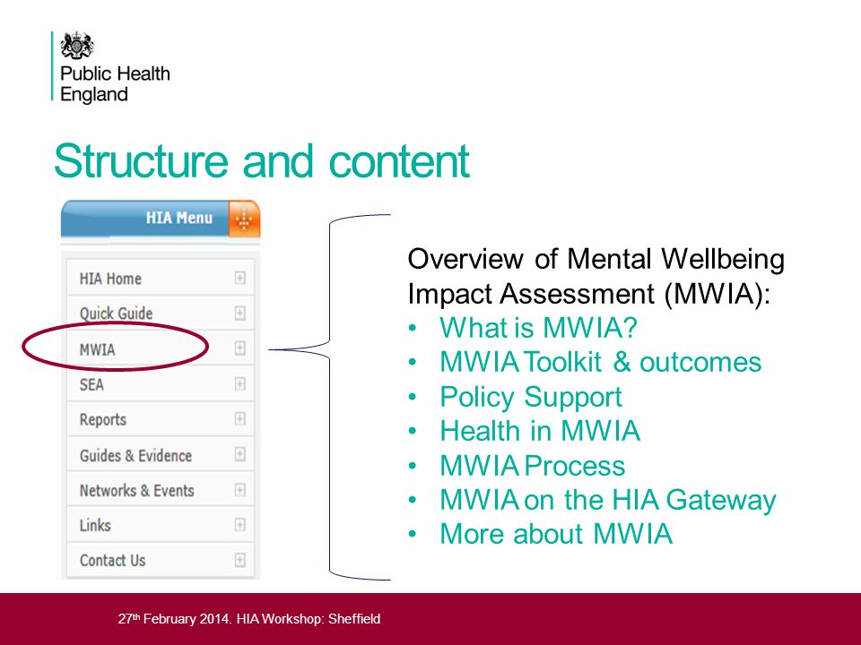 Structure and content Overview of Mental Wellbeing Impact Assessment (MWIA): What is MWIA MWIA Toolkit & outcomes.