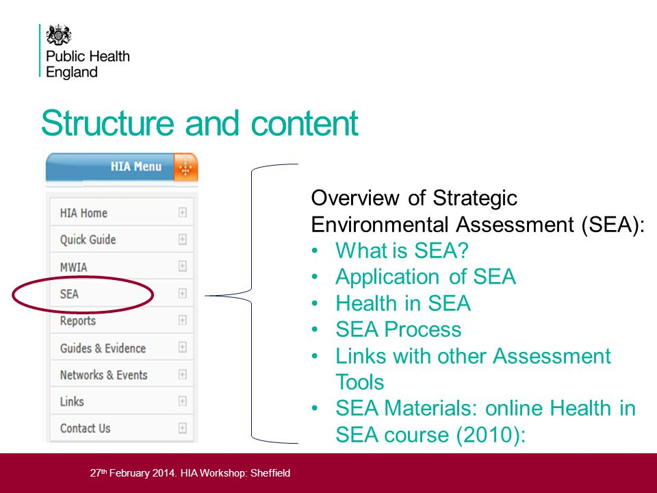 Structure and content Overview of Strategic Environmental Assessment (SEA): What is SEA Application of SEA.