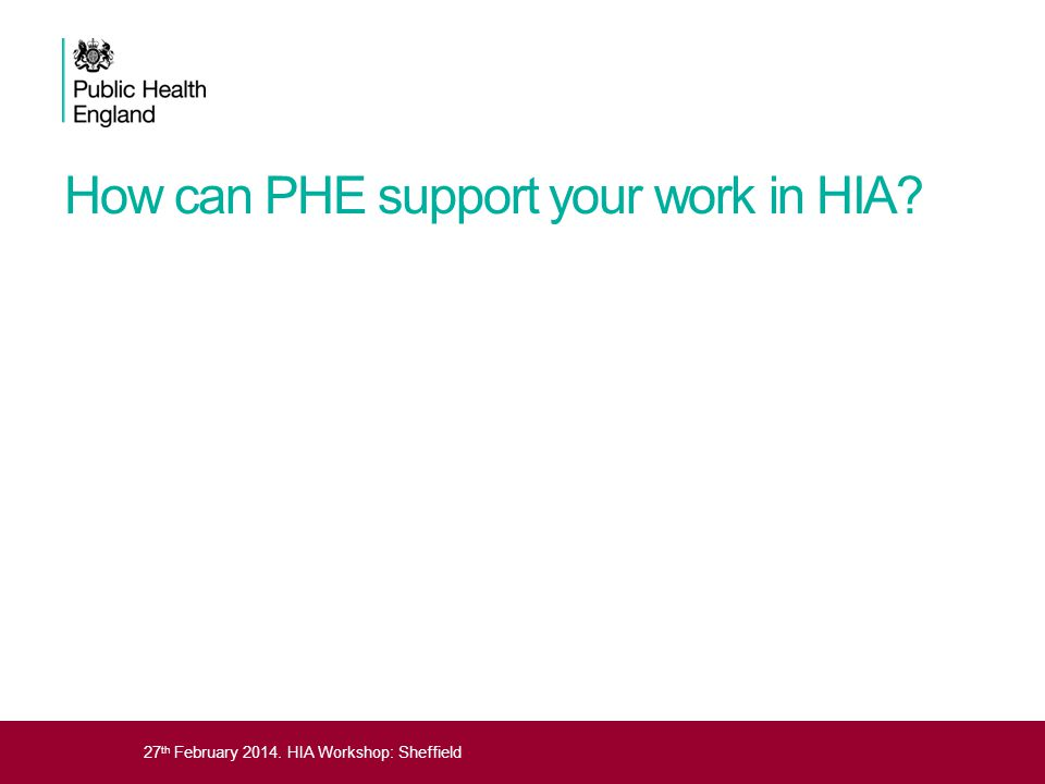 How can PHE support your work in HIA