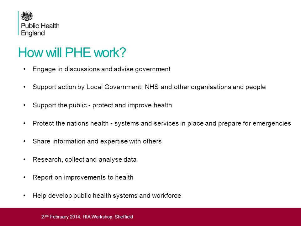 How will PHE work Engage in discussions and advise government