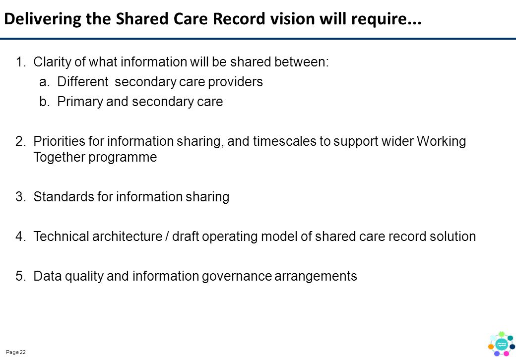 Delivering the Shared Care Record vision will require...