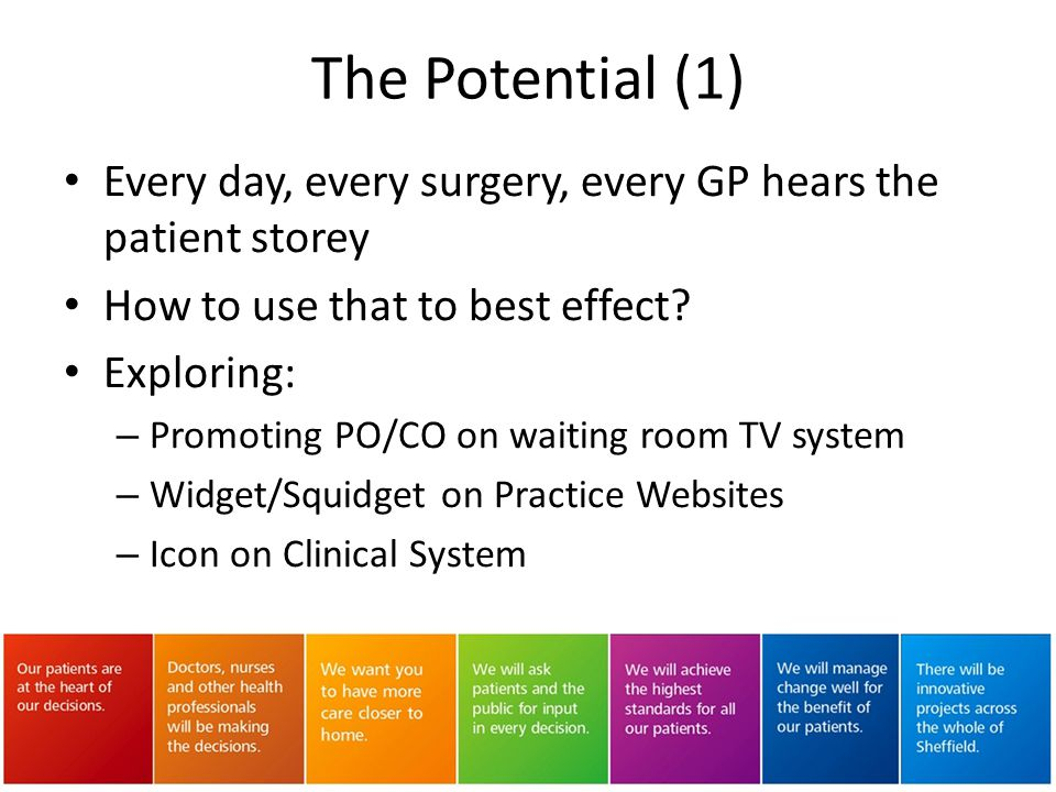 The Potential (1) Every day, every surgery, every GP hears the patient storey. How to use that to best effect