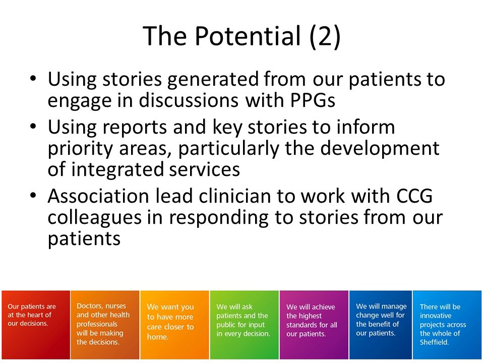 The Potential (2) Using stories generated from our patients to engage in discussions with PPGs.