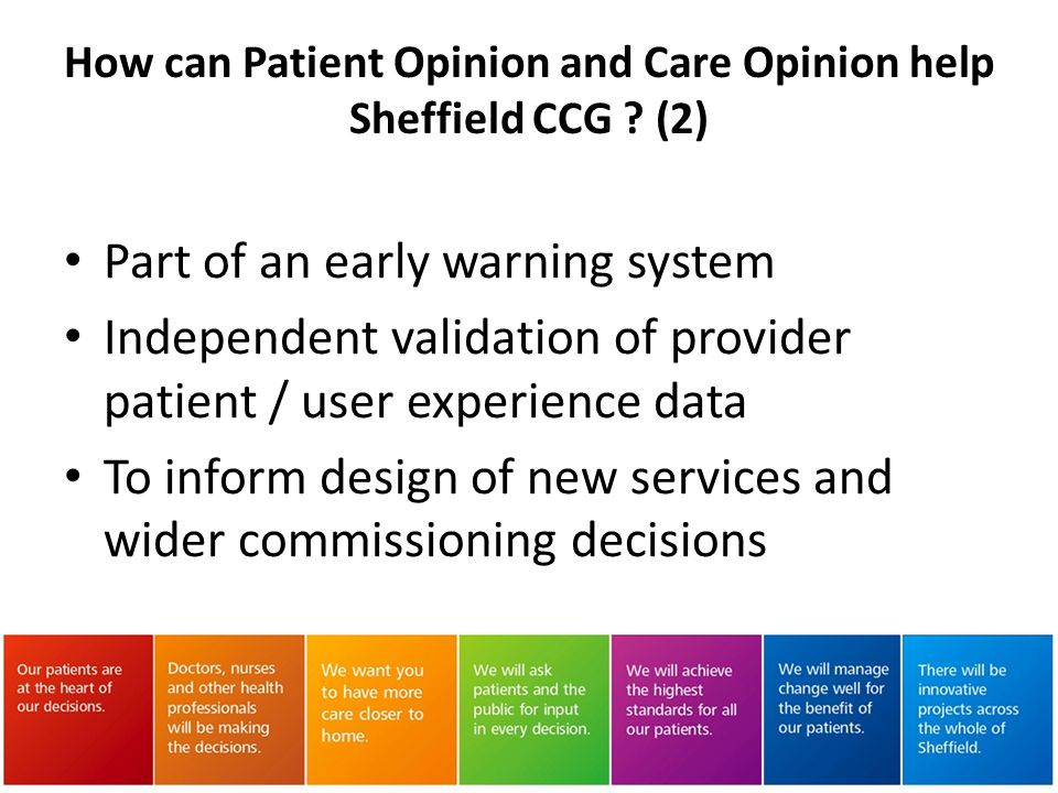 How can Patient Opinion and Care Opinion help Sheffield CCG (2)