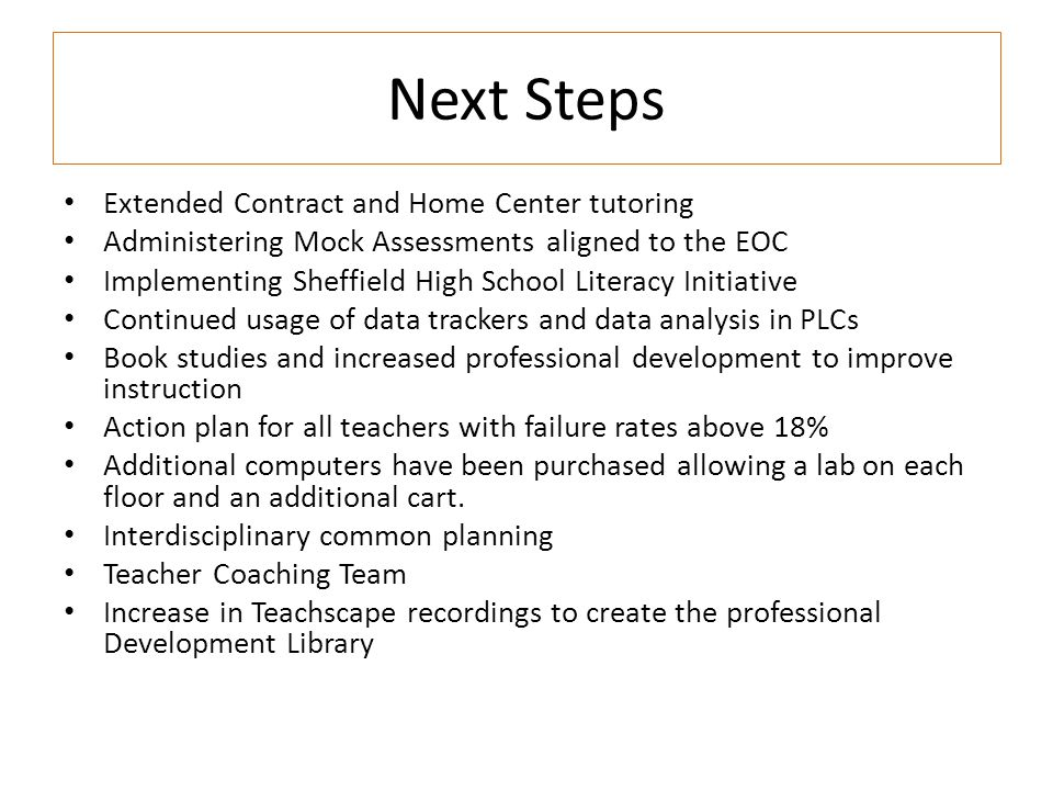 Next Steps Extended Contract and Home Center tutoring