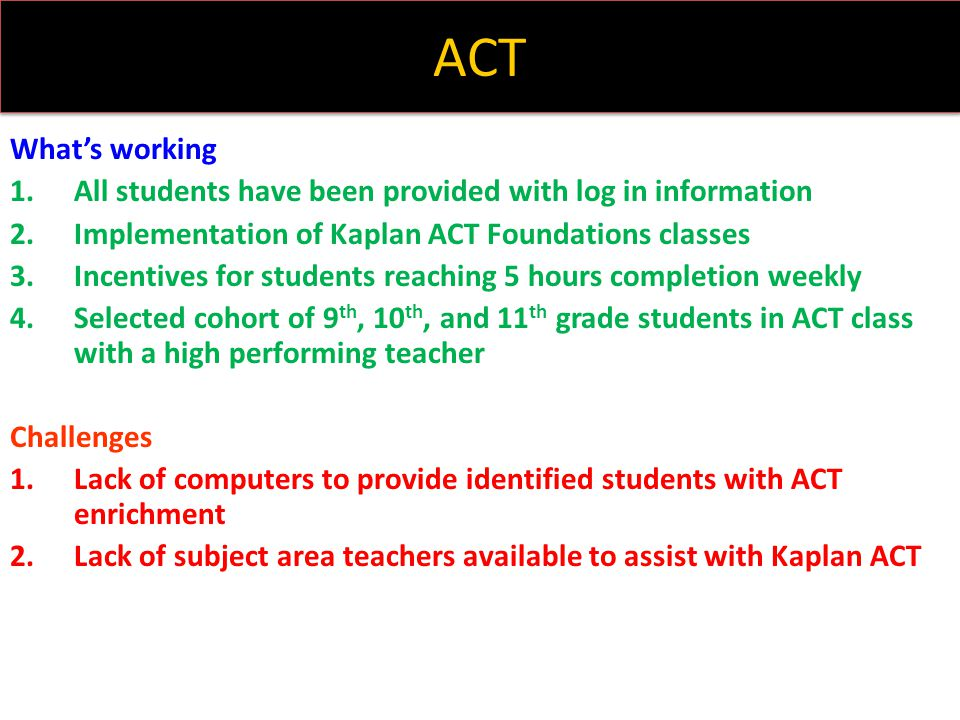 ACT What's working. All students have been provided with log in information. Implementation of Kaplan ACT Foundations classes.