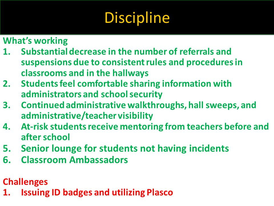 Discipline Senior lounge for students not having incidents