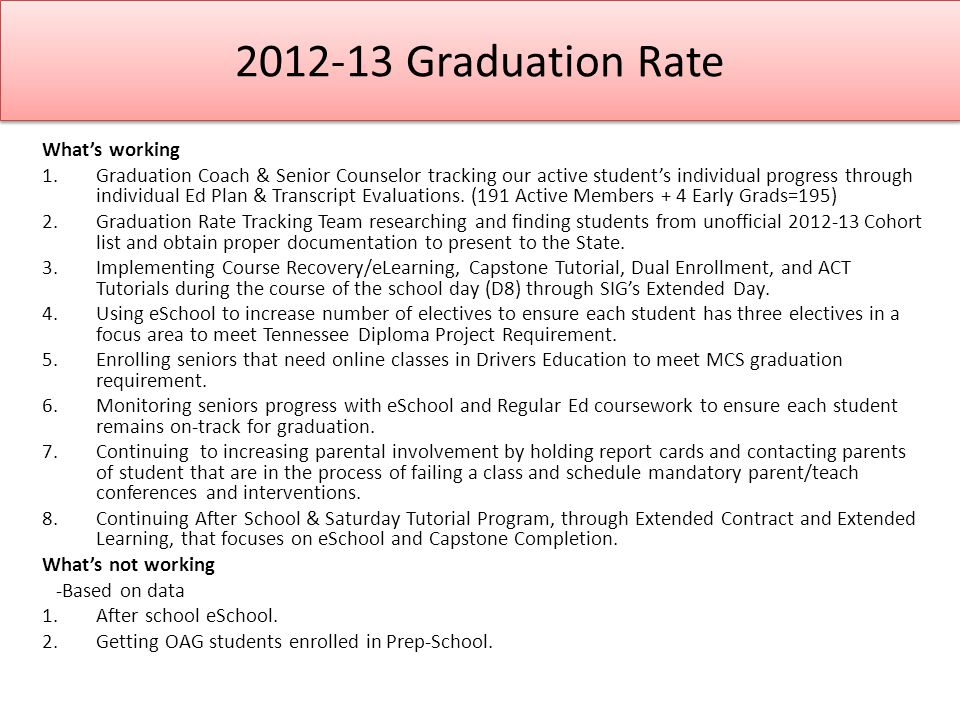 2012-13 Graduation Rate What's working