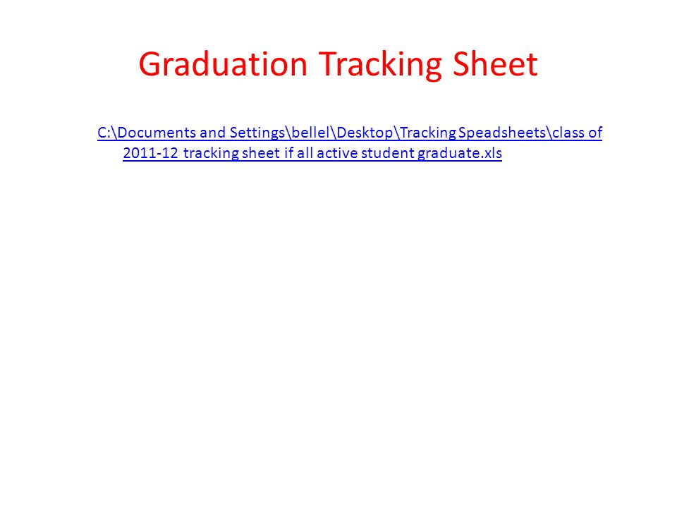 Graduation Tracking Sheet
