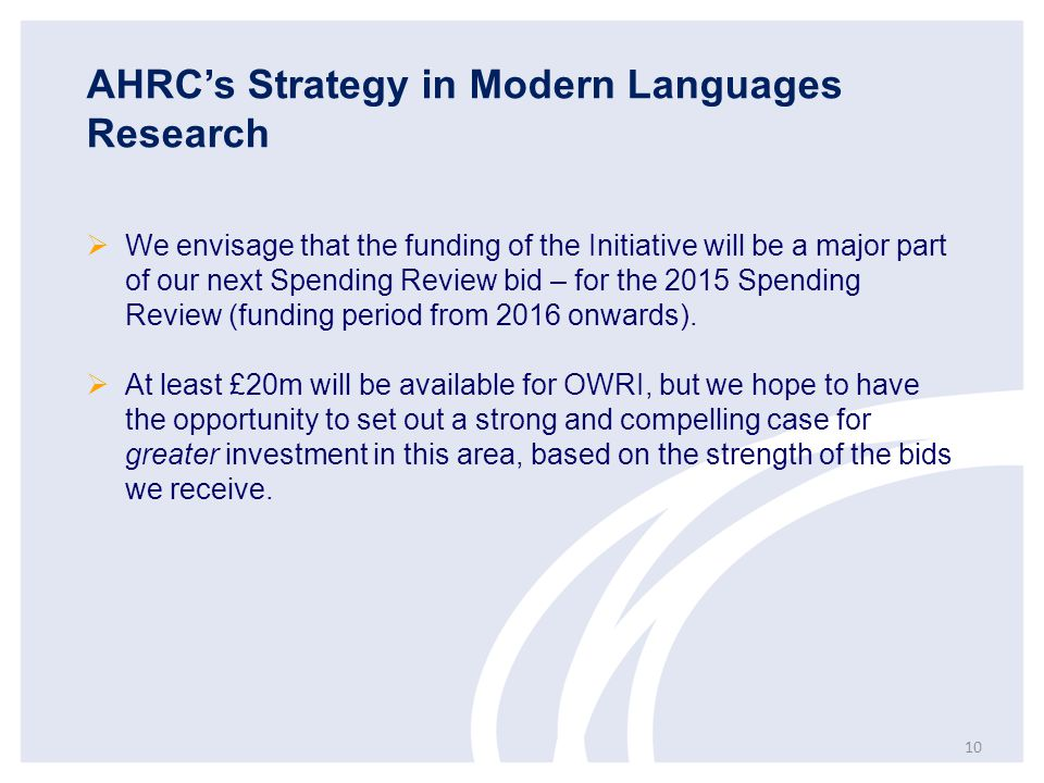 AHRC's Strategy in Modern Languages Research