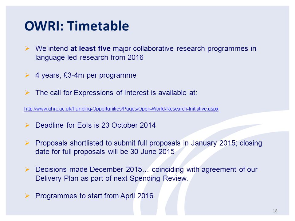 OWRI: Timetable We intend at least five major collaborative research programmes in language-led research from 2016.