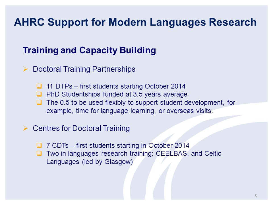 AHRC Support for Modern Languages Research