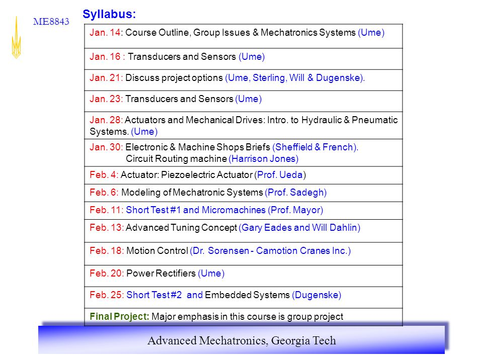 Syllabus: Jan. 14: Course Outline, Group Issues & Mechatronics Systems (Ume) Jan. 16 : Transducers and Sensors (Ume)