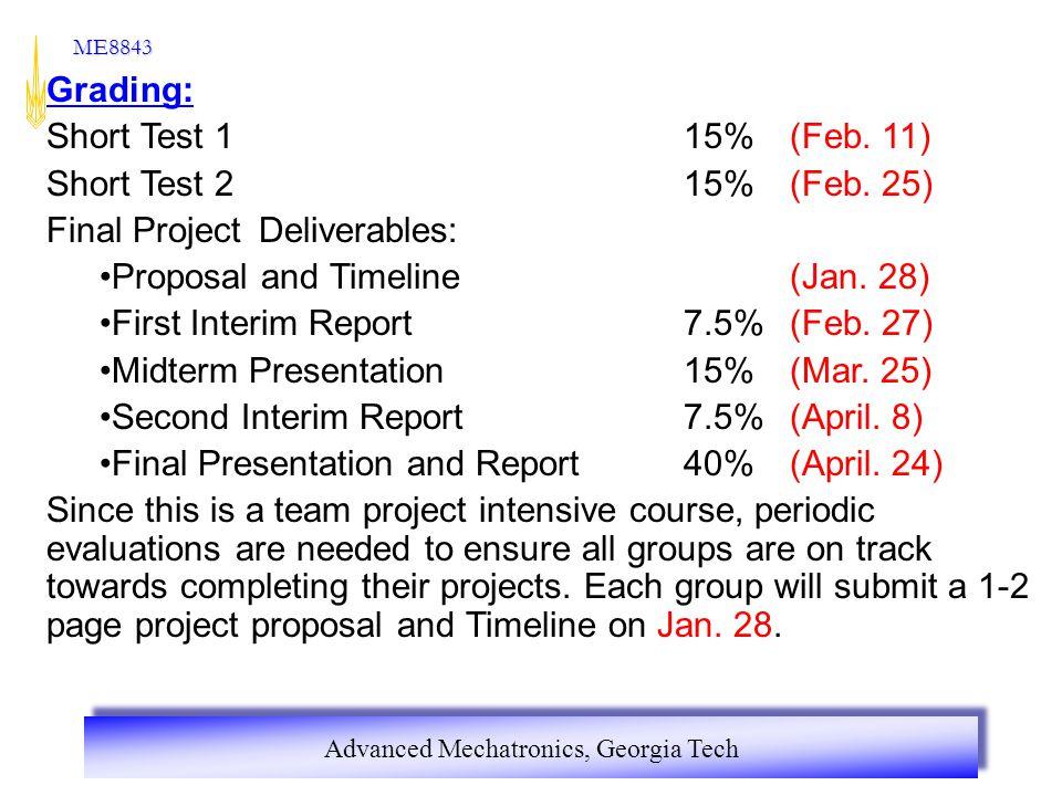 Grading: Short Test 1 15% (Feb. 11) Short Test 2 15% (Feb. 25) Final Project Deliverables: