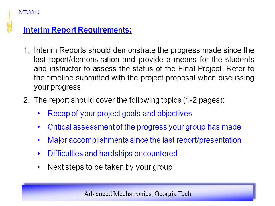 Interim Report Requirements: