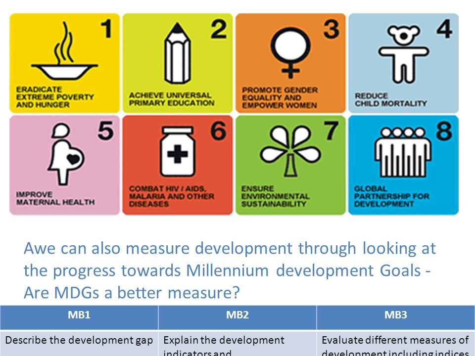 Awe can also measure development through looking at the progress towards Millennium development Goals - Are MDGs a better measure