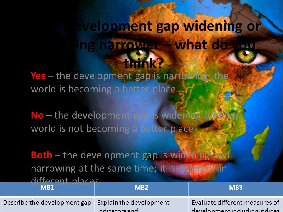 Is the development gap widening or becoming narrower – what do you think