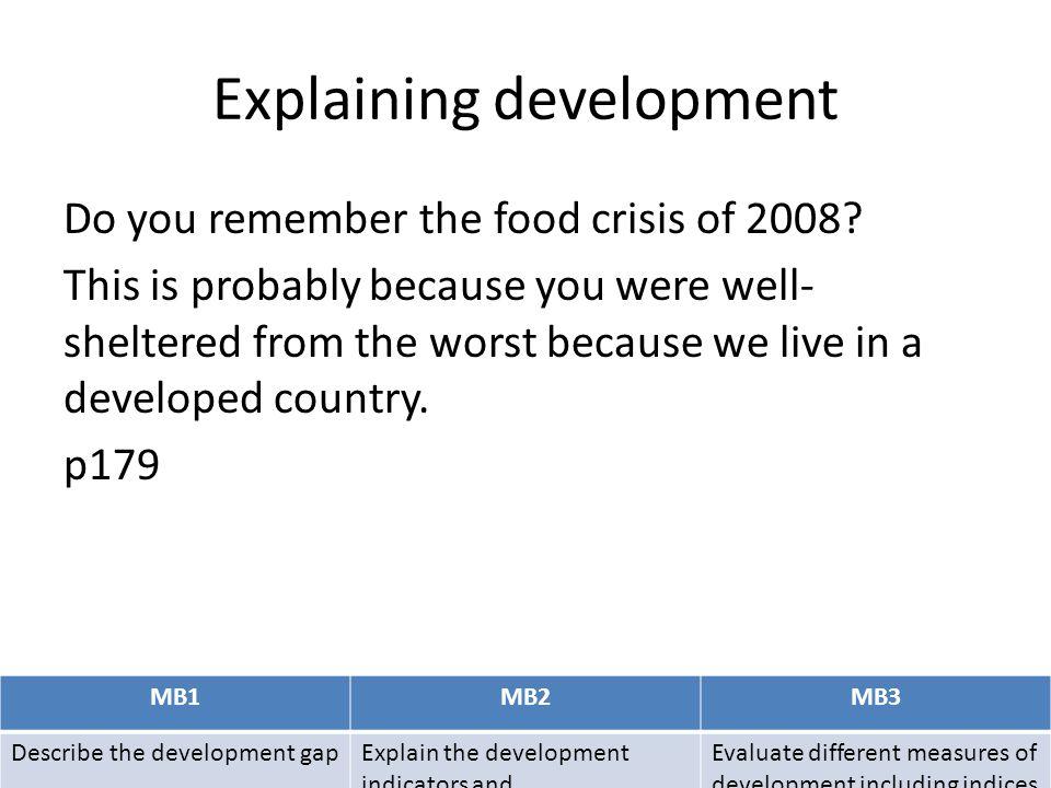Explaining development