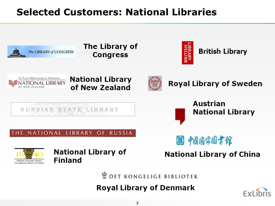 Selected Customers: National Libraries