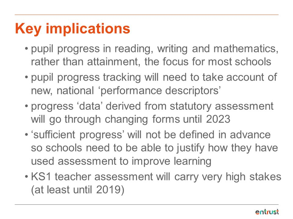 Key implications pupil progress in reading, writing and mathematics, rather than attainment, the focus for most schools.